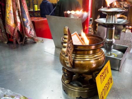 Donated coffin in Wat Hua Lamphong, Temple in Bangkok.