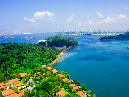 view of cable car to Sentosa island, Singapore