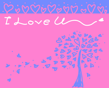 Romantic design vector illustration with I Love U and tree made of hearts Illustration