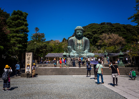 Kotoku-in Temple : The Great Buddha of Kamakura, in Kanto region, Japan. The temple is famous for Great Buddha or Daibutsu.