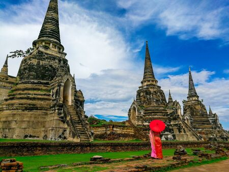 Pagoda at Wat Phra Si Sanphet temple in Ayutthaya Historical Park, Thailand. Jan 2019