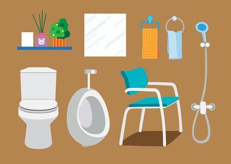 Objet et mobilier de salle de bain, illustration vectorielle Banque d'images