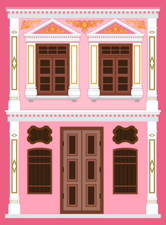 A classic house, Old town home styles, vector illustration, Sino-Portuguese style