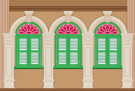 A classic house, Old town. Chinese home styles, vector illustration, Sino-Portuguese style