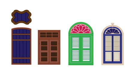 A classic doors set. Chinese home styles, vector illustration, Sino-Portuguese style