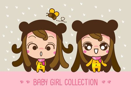Baby girl collection, a cute Cartoon Girl. Vector, illustration.