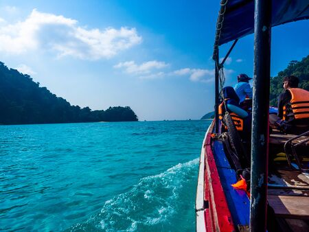 Tourist Boat to snorkeling at Surin Island, Thailand : March 2019