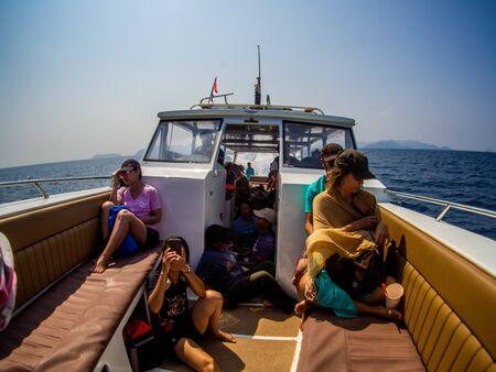 Tourist boat on the ocean to Khura Buri Pier, Phang-nga, Thailand : March 2019. 報道画像