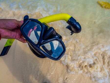 Mask for snorkeling on the beach