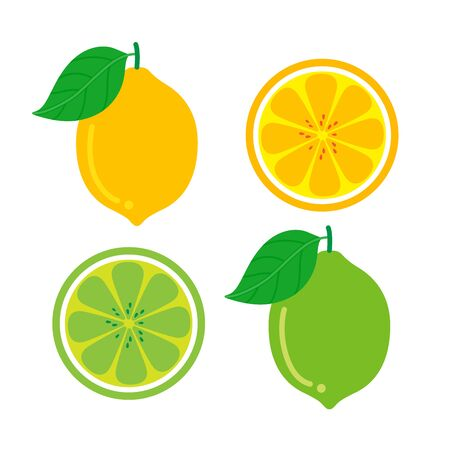 Character Cartoon Set of Lemon fruit and Lime, that are segmented on a white background. Vector Illustration.