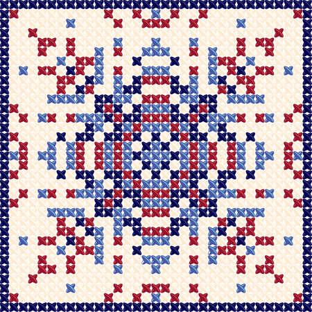 Modèle de point de croix. motif textile, fond de tapisserie et de motif de broderie et la nappe texture. Conçu par des oreillers, des nappes, des couvre-lits. Vector Illustration en couleurs rouge et bleu