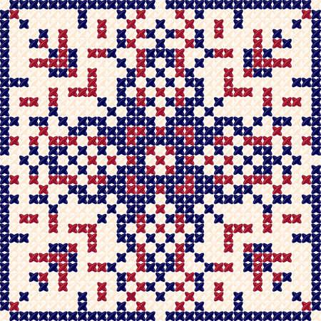 motif de point de croix, motif de broderie, motif textile et fond de tapisserie. Nappe texture. Conçu par des oreillers, des nappes, des couvre-lits. Vector Illustration par des couleurs bleu rougeâtre Vecteurs