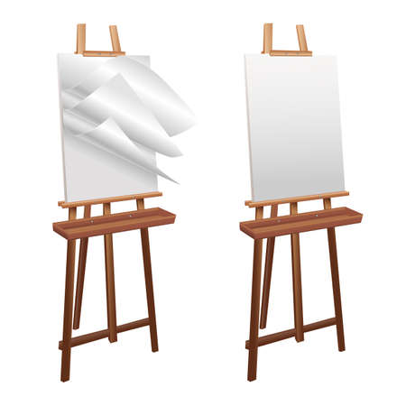 easel: Wooden easel on a white background. Wooden easel template for text, ad, advertising. Isolated easel is turned three-quarters of white sheets of paper fluttering in the wind. Vector illustration