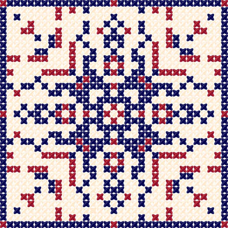 Cross stitch pattern, embroidery pattern, textile pattern and tapestry background. Tablecloth texture. Vector Illustration designed by pillows, tablecloths, bedspreads. Concept by reddish blue colors