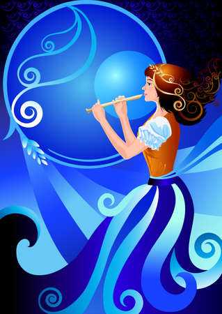 enchantress: Musician flutist. Girl playing the flute, fife. The character enchantress, fairy. Vector illustration of fairy postcards, posters, cards, greeting card, fantastic cover. Blue and orange colors Illustration
