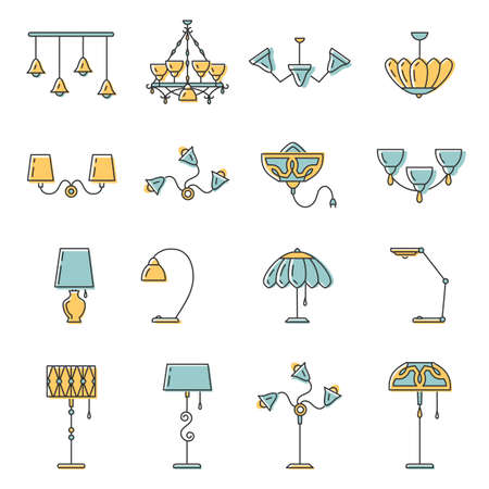 Outline lamp icon set, thin line style, flat design in yellow and blue color. Lamp vector illustration: wall lamp, desk lamp, floor lamp, chandelier, decorate lamp