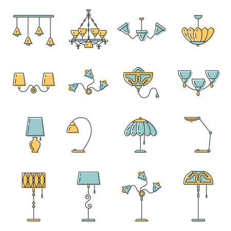 Outline lamp icon set, dunne lijn stijl, platte ontwerp in geel en blauwe kleur. Lamp vector illustratie: wandlamp, bureaulamp, staande lamp, kroonluchter, versieren lamp