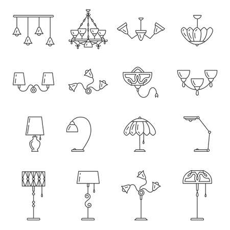 Outline lamp icon set, thin line style, flat design. Lamp vector illustration: wall lamp, desk lamp, floor lamp, chandelier, decorate lamp Illustration
