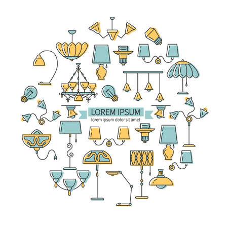 Iconos lámparas dispuestas en un círculo. conjunto contorno icono, estilo de línea delgada, diseño plano. La idea del diseño de las lámparas de la tienda. ilustración vectorial de la lámpara: lámpara de pared, lámpara de escritorio, lámpara de pie, lámpara de araña