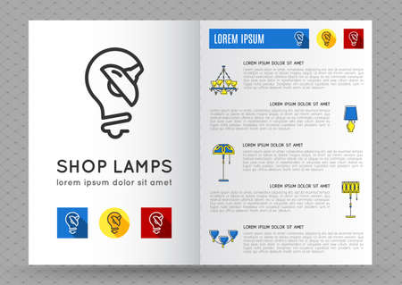 Catalogue Design Template | Catalog Store Lamps Or Bulbs Brochure Design Template With Flat