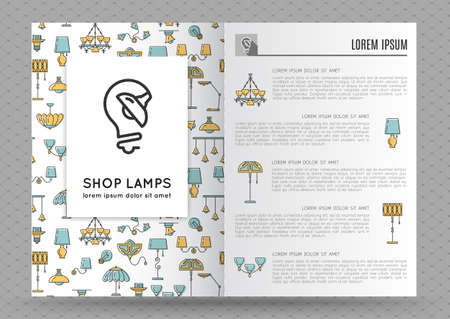 lamp outline: Brochure design template with flat lamps icons. Image lamp and light. Designed by store lamps. Outline lamp icon, thin line style, flat design, vector illustration