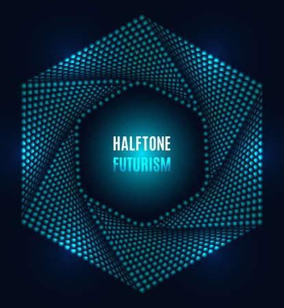 Futuristic technology style halftone design elements Illusztráció
