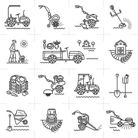 labranza: L�nea iconos del arte de la agricultura herramientas de maquinaria de jard�n agr�colas. M�quinas de jard�n: labradores, cultivadores, mini tractor. Un conjunto de iconos de l�neas de colores sobre un tema: la agricultura, la agricultura, la labranza Vectores