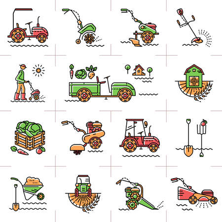 machinery: Agriculture, agricultural machinery, garden tools, Gardening equipment: tillers cultivators mini tractor. A set of colorful line icons art on a theme: agriculture, farming, tillage, soil cultivation