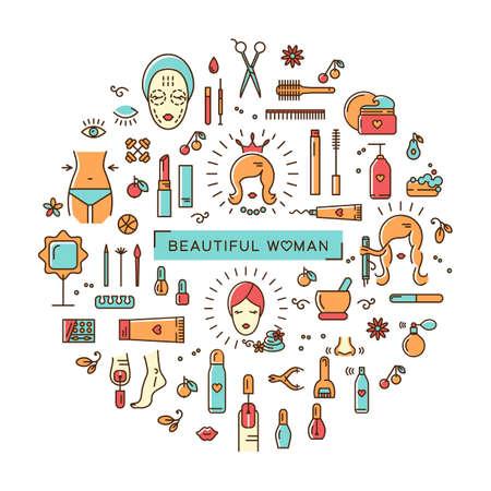 Un ensemble d'icônes colorées de ligne sur un thème: la beauté, les cosmétiques, salon de coiffure, spa salon, cosmétologie. Icônes dans le vecteur de style moderne et linéaire disposées en cercle. Le concept d'une brochure, dépliant