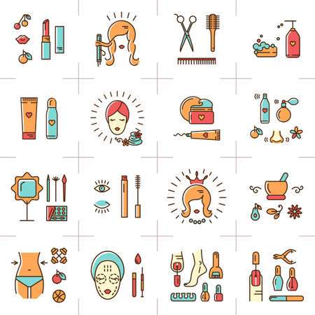 A set of colorful line icons on a theme: beauty, cosmetics, hairdressing salon, spa salon, cosmetology. Icons drawn in the modern linear vector style. Vector illustration  イラスト・ベクター素材