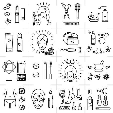 красота: Современные иконки набор косметики, красоты, спа и символы коллекции, сделанные в современном линейном векторном стиле. Идеальный элемент дизайна для магазина косметики, парикмахерская, косметологический центр Иллюстрация