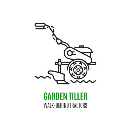 tillage: soil cultivation tillage Cultivator agriculture machinery in modern line art style.
