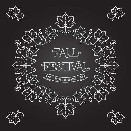 harvest festival: Fall Festival template posters. Autumn harvest festival card in trendy art line style. Elegant frame with maple leaves on blackboard, art line lettering Illustration