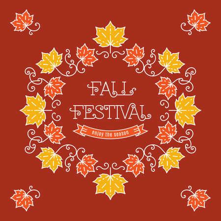 Colorful fall festival template posters in trendy art line style. Elegant frame with maple leaves, art line lettering. Vector illustration autumn harvest festival