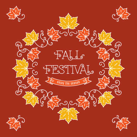Colorful fall festival template posters in trendy art line style. Elegant frame with maple leaves, art line lettering. Vector illustration autumn harvest festival