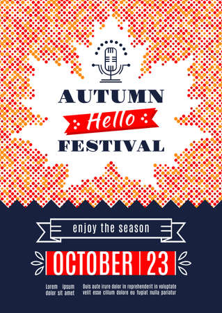 harvest festival: Fall Festival template posters. Autumn harvest festival. Colorful dotted background with a silhouette of the maple leaf. Vector illustration autumn background