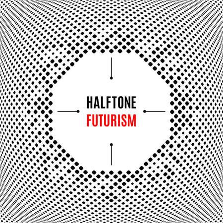halftone cover: Halftone dot design Futuristic technology dotted background. Template cover banner poster flyer presentation web. Creative square frame Illustration