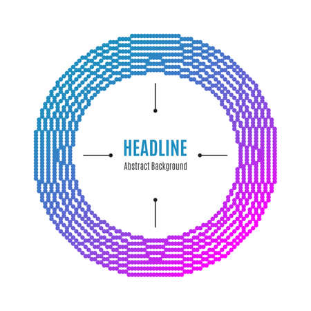 catalogs: Halftone dot pattern background, Modern round frame with dots, Colorful colors: pink, blue, magenta, pink. The concept for: brochures flyers catalogs presentations covers posters labels tags Illustration