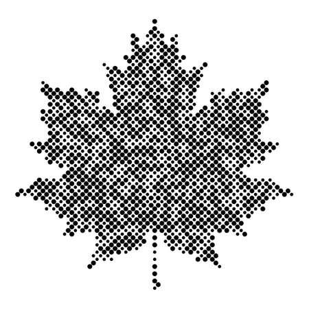 leaf silhouette: Maple leaf isolated halftone design elements, graphics autumn background Illustration