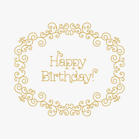 other space: Happy Birthday card with copy space for text, lettering and other decorative elements. Vector illustration in trendy mono line style. Elegant geometric floral frame