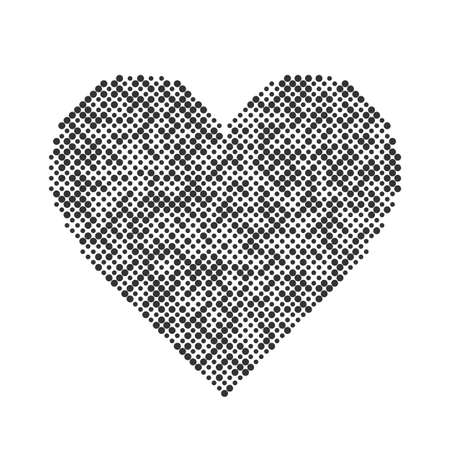 heart tone: Vector heart: halftone design elements, graphic abstract background, heart icon