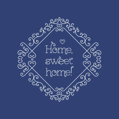 sweet home: Sweet home lettering, elegant geometric floral frame. Sweet home card with copy space for text and other decorative elements. Vector illustration in trendy mono line style