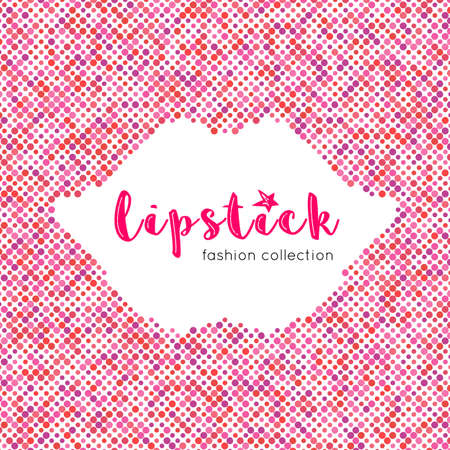 lips smile: Lipstick, fashion collection: lettering banner Abstract graphic background of colored dots. Silhouette lips, smile, lip palette. Lettering for posters cards brochures. Vector illustration