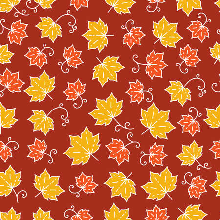 burgundy background: Maple leaf pattern. Autumn seamless pattern in trendy mono line style. Elegant autumn leaves isolated on a burgundy background