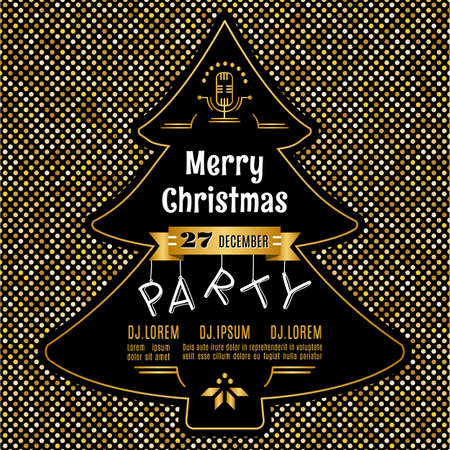 Christmas party invitation modern typography and ornament decoration. Christmas holidays flyer or poster design. Gold glitter background with a silhouette of a Christmas tree