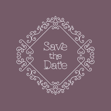 other space: Save the Date card with copy space for text, lettering and other decorative elements, Vector illustration in trendy mono line art style, Elegant geometric floral frame Illustration