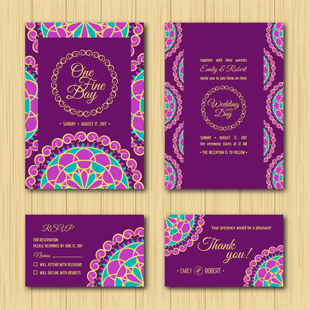 rsvp: Wedding Invitations Sets: Save the date and RSVP cards. Turquoise, purple and gold colour palette for wedding
