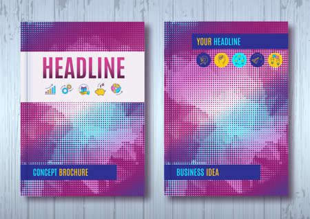 halftone cover: Business brochure design template A4 size. Vector flyer layout, halftone background with elements for report, magazine, book cover, poster design. Purple violet blue color palette Illustration