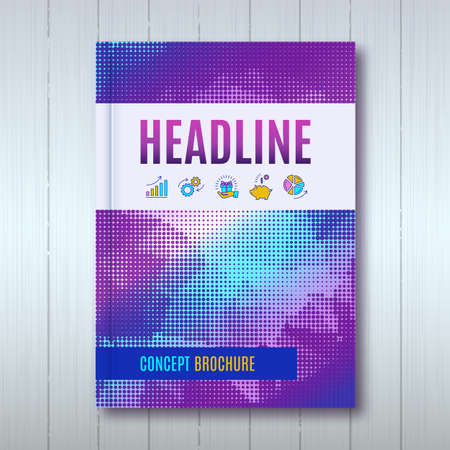 halftone cover: Brochure template layout, cover design annual report, magazine, flyer or booklet in A4. Purple blue halftone background with business thin line icons. Vector Illustration Illustration