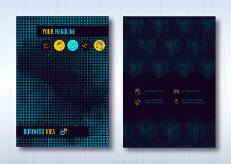 halftone cover: Business brochure template layout, cover design annual report, magazine, flyer or booklet in A4. Dark turquoise halftone light background with business thin line icons. Vector Illustration Illustration